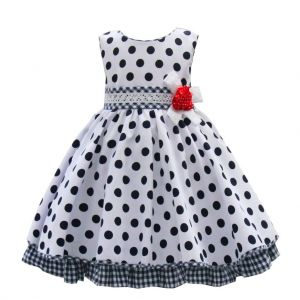 Pretty Originals White and Navy Spotted Dress