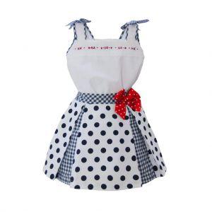 Pretty Originals White Top and Navy Polka Dot Skirt Set