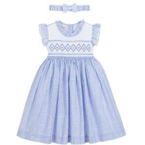 Pretty Originals Blue and White Hand Smocked Dress Set