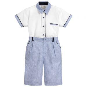 Pretty Originals Boys Blue and White Shorts & Shirt Set