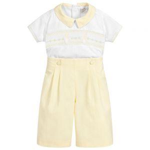 Pretty Originals Boys Yellow Cotton Shorts Set