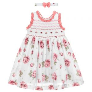 Pretty Originals Pink Cotton Smocked Dress Set