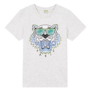 Kenzo Kids Boys Grey Tiger Palm T-Shirt