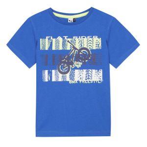 3Pommes Boys Blue BMX Print T-Shirt