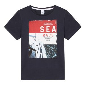 3Pommes Navy Blue Cotton Sea Race T-Shirt