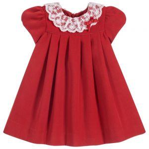 Sarah Louise Baby Girls Red Velvet Dres