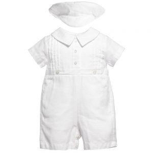 Sarah Louise Baby White Linen Shortie Set