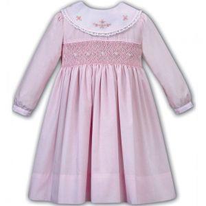 Sarah Louise Girls Pink Hand-Smocked Shawl Collar Dress