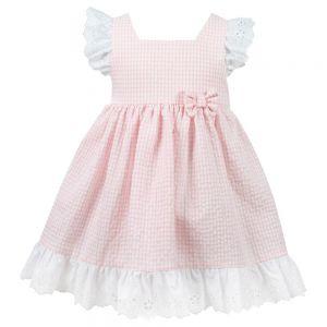 Sarah Louise Girls Dani Pink and White Gingham Dress