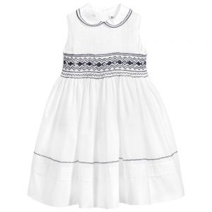 Sarah Louise Girls White and Navy Hand-Smocked Dress