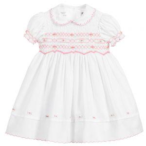 Sarah Louise Girls White Hand Smocked Rosebud Embroidered Dress