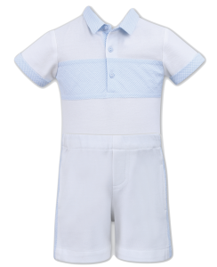 Sarah Louise Boys 'Dani' White and Pale Blue Polo Shirt and Shorts Set