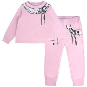 Simonetta Girl's Print Lace Collar Pink Tracksuit