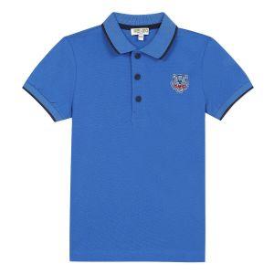 Kenzo Kids Cobalt Blue Cotton Piqué Polo Shirt