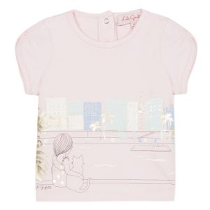 Lili Gaufrette Girls Pink Cotton Gigi T-Shirt