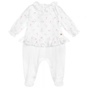 Tartine et Chocolat Girls White & Floral Cotton Babygrow