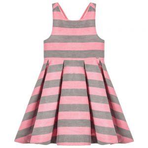 Tartine et Chocolat Girl's Pink And Grey Dress