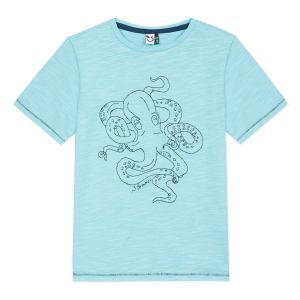 3Pommes Boy's Turquoise Octopus T-Shirt