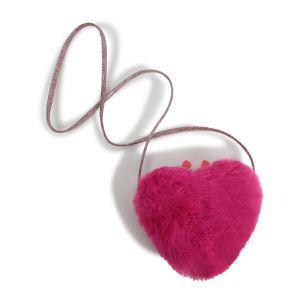 Billieblush Pink Faux Fur Heart Cross Body Bag