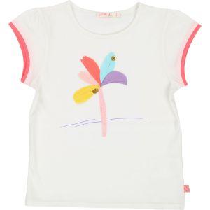 Billieblush Girls Ivory Cotton Applique Flower T-Shirt
