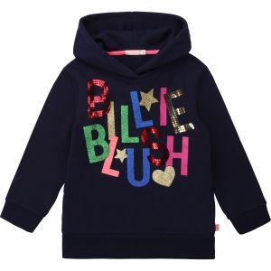 Billieblush Navy Cotton Sparkle Logo Hoodie