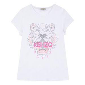 KENZO KIDS Girls White Tiger T-Shirt