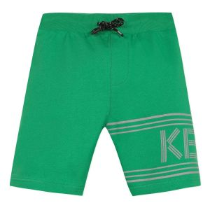 Kenzo Kids Boys Green Cotton Grey Reflective Logo Shorts