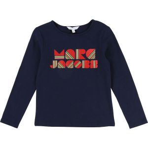 LITTLE MARC JACOBS Navy And Red  Cotton Logo Top