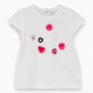 Tartine et Chocolat Girl's White Pom Pom T-Shirt