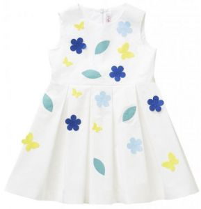 IL Gufo White Dress With Multi Coloured Applique Flowers