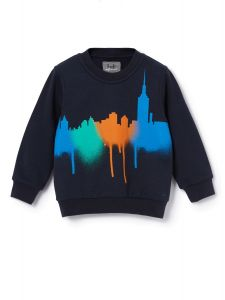 Il Gufo Blue City Print Sweatshirt