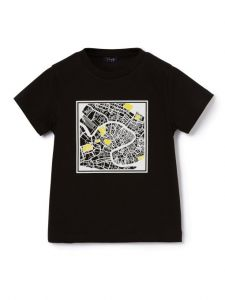 Il Gufo Boys Black Cotton Urban Map T-Shirt