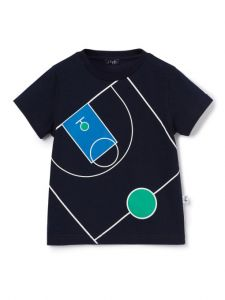 Il Gufo Boys Navy Cotton Basket Ball Court T-Shirt