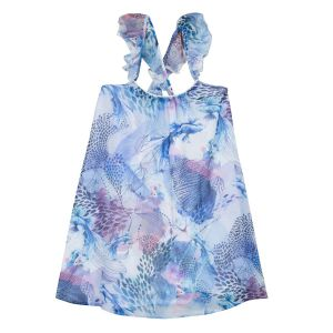 3Pommes Girls Blue and Pink Ocean Themed Chiffon Dress