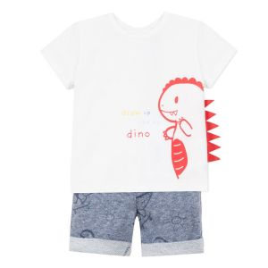 3Pommes Boy's 2 Piece Dinosaur T-Shirt and Short Set
