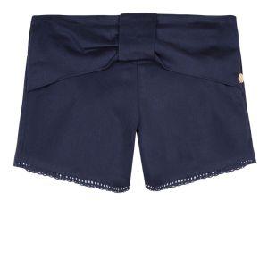 Lili Gaufrette Girls Blue Cotton Bow Shorts