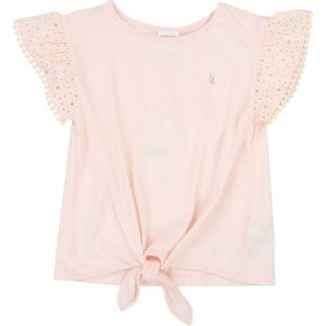 Carrément Beau Girls Peach Cotton Broderie Anglaise Sleeved Top