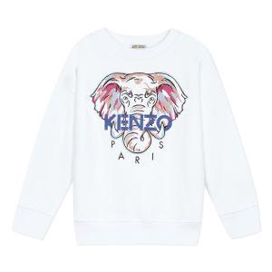 Kenzo Kids Girls White Cotton Elephant Sweatshirt