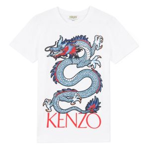 Kenzo Kids White Cotton Red Logo Dragon T-Shirt